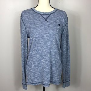 Express Blue Waffle Knit Long Sleeve Shirt